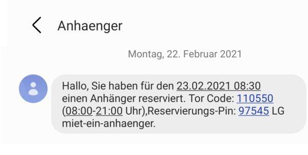 TOR Code und Rev Pin per SMS